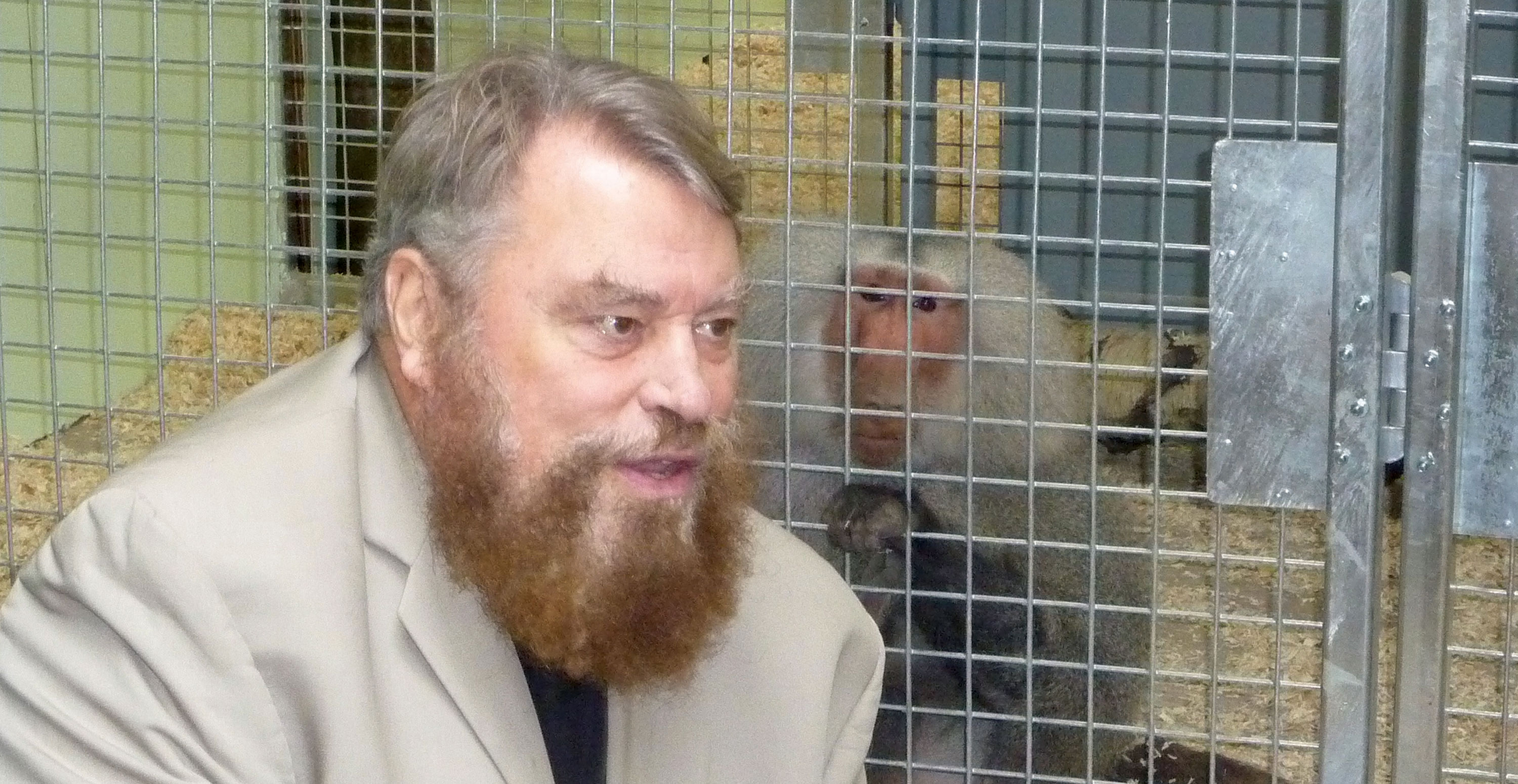 Brian Blessed with Tilin the rescued circus baboon