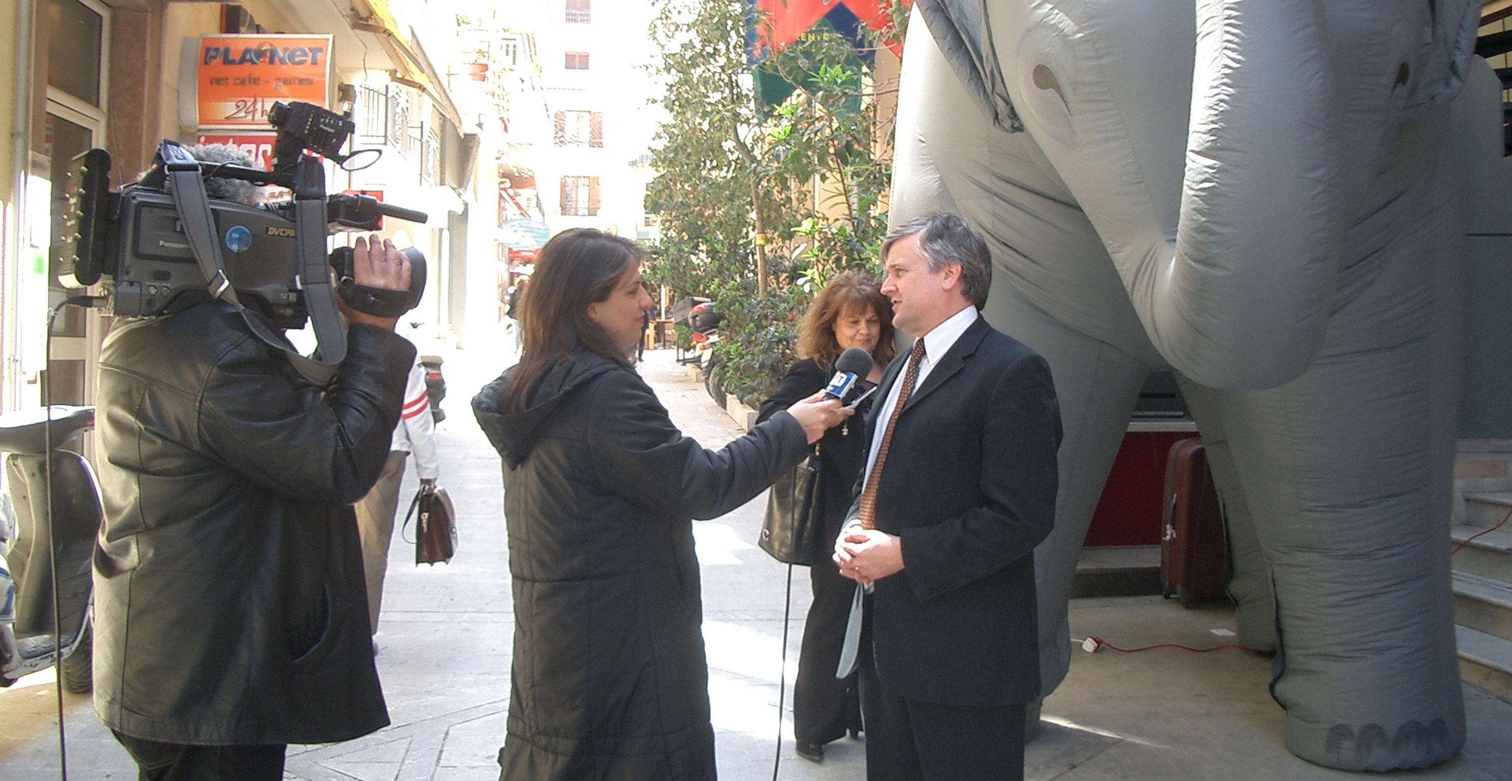 Tim Phillips is interviewed during the launch
