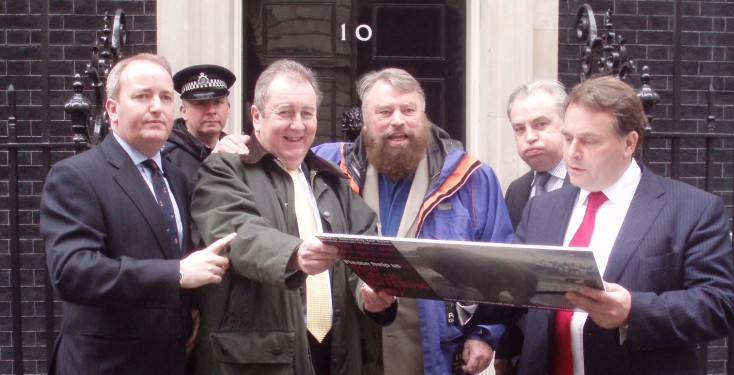 Circus postcard presentation to 10 Downing Street, March 2011
